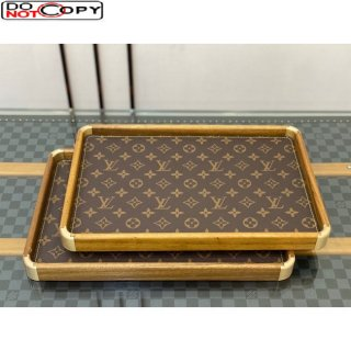 Louis Vuitton Wood and Monogram Canvas Rectangle Tray