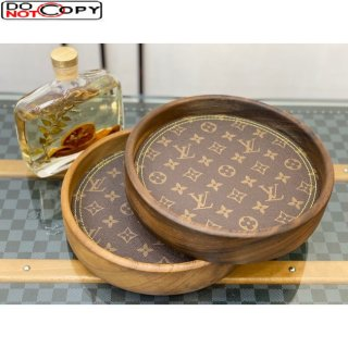 Louis Vuitton Wood and Monogram Canvas Round Tray