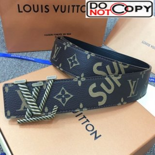 Louis Vuitton x Supreme Reversible Monogram Leather Belt 40mm with LV Buckle Brown