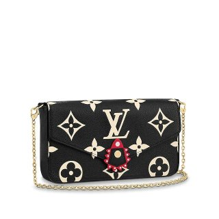 Louis Vuitton LV Crafty Felicie Pochette Clutch with Chain/Mini Bag in Monogram Leather M69515 Black bag