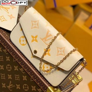 Louis Vuitton Felicie Pochette Clutch with Chain/Mini Bag in Monogram Leather M80498 Yellow bag