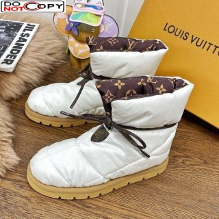 Louis Vuitton Down Feather Lace-up Waterproof Boots White/Monogram
