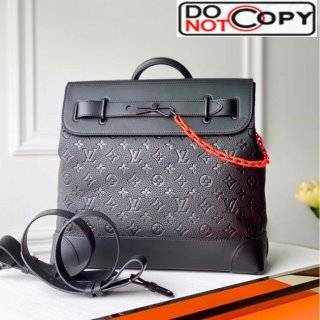 Louis Vuitton Men's Steamer PM Monogram Embossed Leather Top Handle Bag M44473 Black/Orange bag