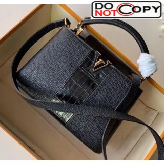 Louis Vuitton Taurillon Croco Pattern Leather Capucines BB/PM Top Handle Bag Black N94220 Bag