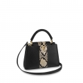 Louis Vuitton Taurillon Leather Capucines BB/PM Top Handle Bag With Python Stripe Black N94220 Bag