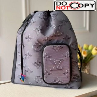 Louis Vuitton Men's 2054 Drawstring Backpack Bag M44940 Grey/Black/Rainbow bag