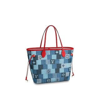 Louis Vuitton Neverfull MM Tote Bag in Damier Monogram Denim Canvas M44981 Blue/Red bag