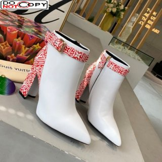 Louis Vuitton Crafty and Calfskin Short Boots with Top Buckle White/Red