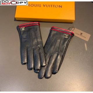 Louis Vuitton Lambskin and Cashmere Web Gloves 02 Black/Red