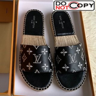 Louis Vuitton Monogram Embroidered Flat Espadrilles Slide Sandals Black/Silver (For Women and Men)
