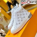 Louis Vuitton Time Out High-top Sneakers in Monogram Embroidered Calfskin White/Silver