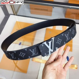 Louis Vuitton Monogram Canvas Belt 4cm with LV Buckle Brown/Grey/Silver
