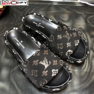 Louis Vuitton Jumbo Monogram Canvas Flatform Slide Sandals Black/Silver