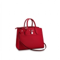 Louis Vuitton City Steamer MM Bag In Grainy Calfskin M53014 Red/Silver bag