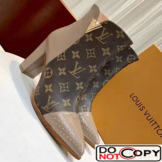 Louis Vuitton Monogram Canvas Studded Leather Ankle Boot Nude