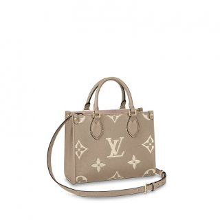 Louis Vuitton OnTheGo PM Tote Bag in Giant Monogram Leather M45659 Grey/White bag