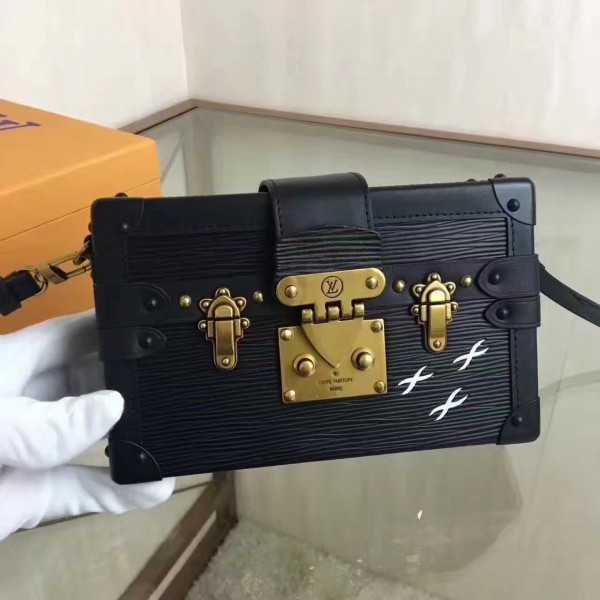 Louis Vuitton Petite Malle Bag In Black Epi Leather M5001N bag