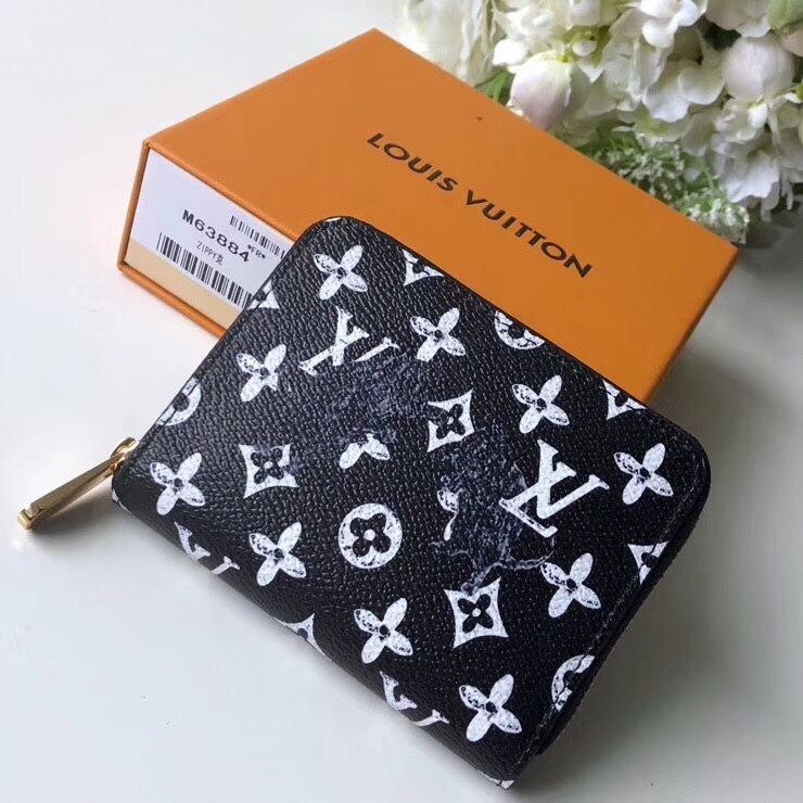 Louis Vuitton Catogram Monogram Canvas Zippy Coin Purse M63884 Black-White   bag