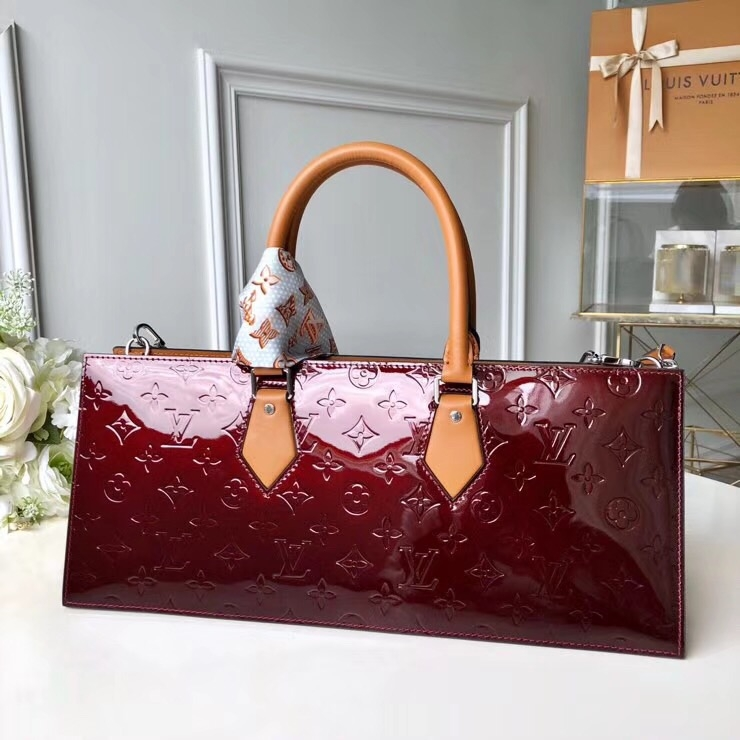Louis Vuitton Sac Tricot Bag Monogram Vernis Leather Burgundy M4437 bag