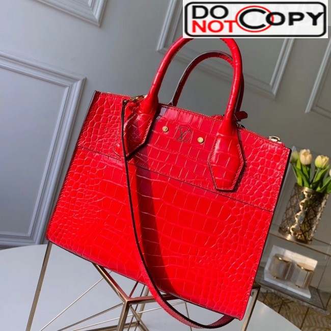 Louis Vuitton City Steamer PM Top Handle Bag in Glossy Crocodile Leather N93548 Red