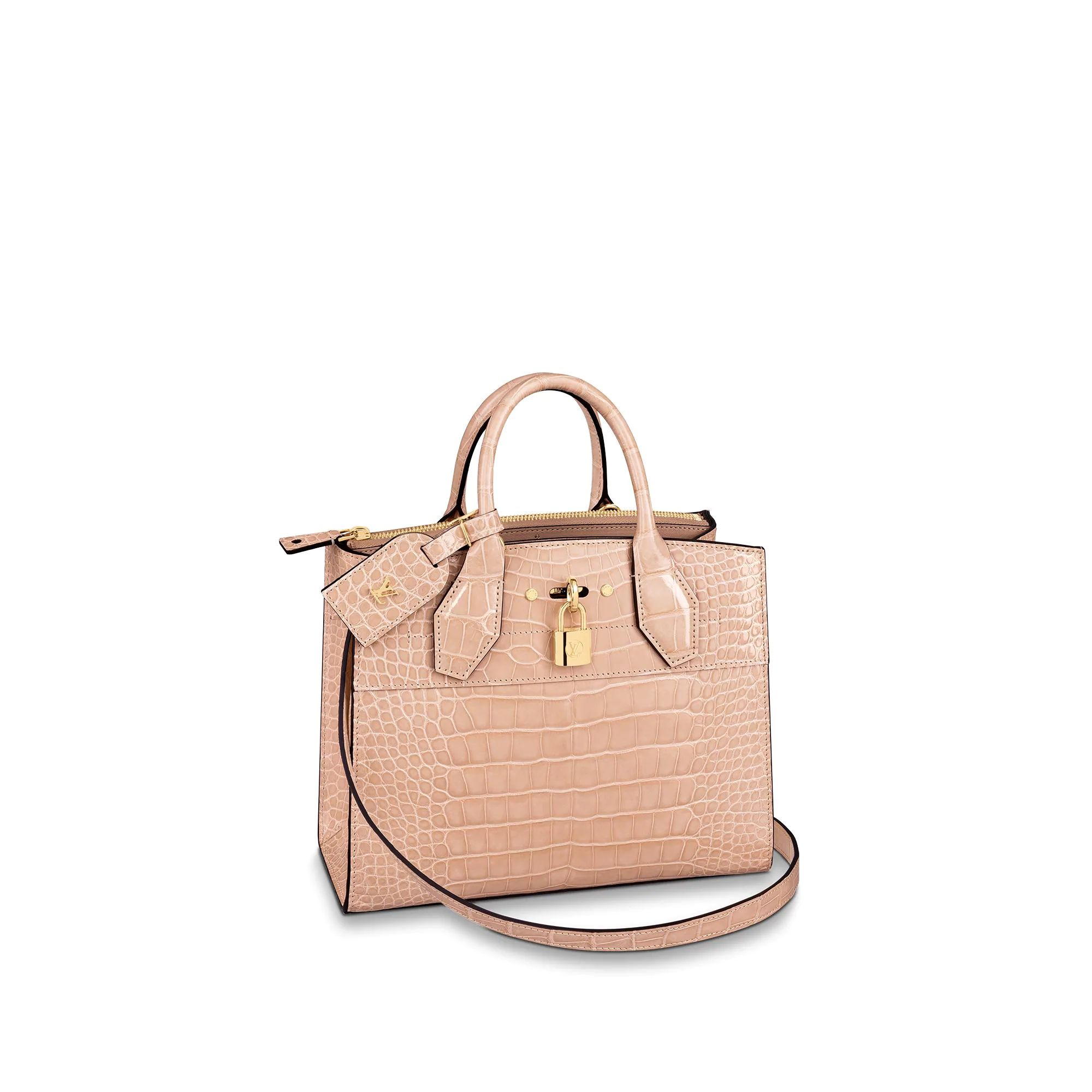 Louis Vuitton City Steamer PM Top Handle Bag in Glossy Crocodile Leather N95197 Nude bag