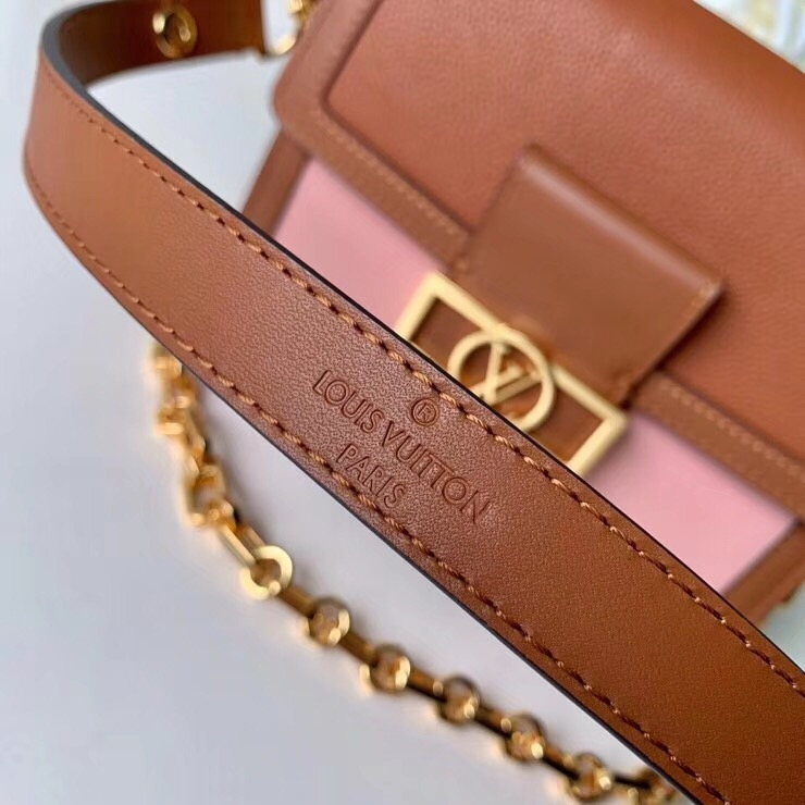 Louis Vuitton Leather Dauphine PM Bag M53805 Brown-Pink  bag