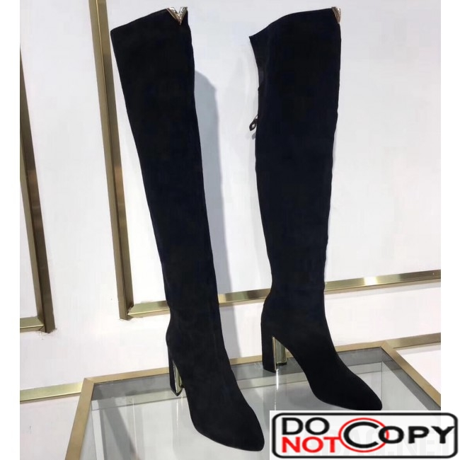 Louis Vuitton Black Suede Upper East Thigh Boot