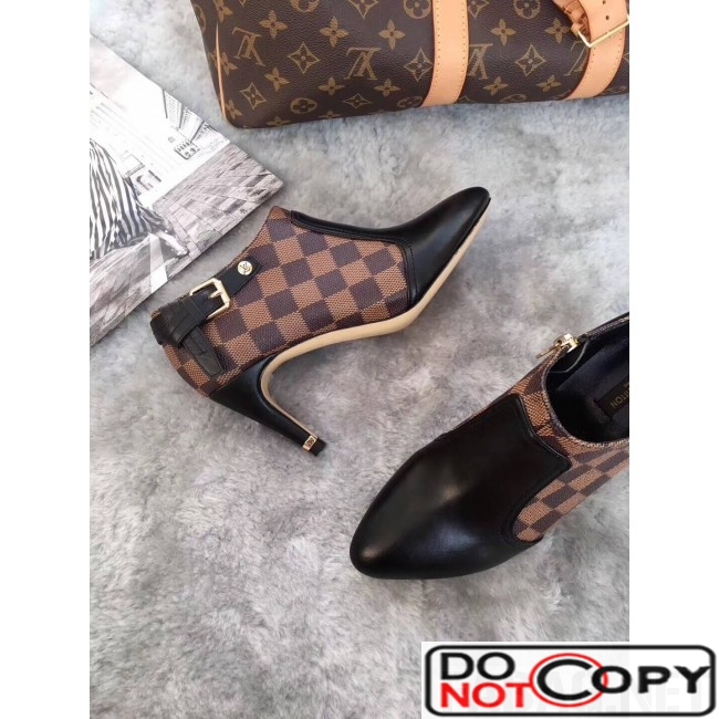 Louis Vuitton Lookat Black Calfskin   Damier Ebene Canvas Ankle Boot