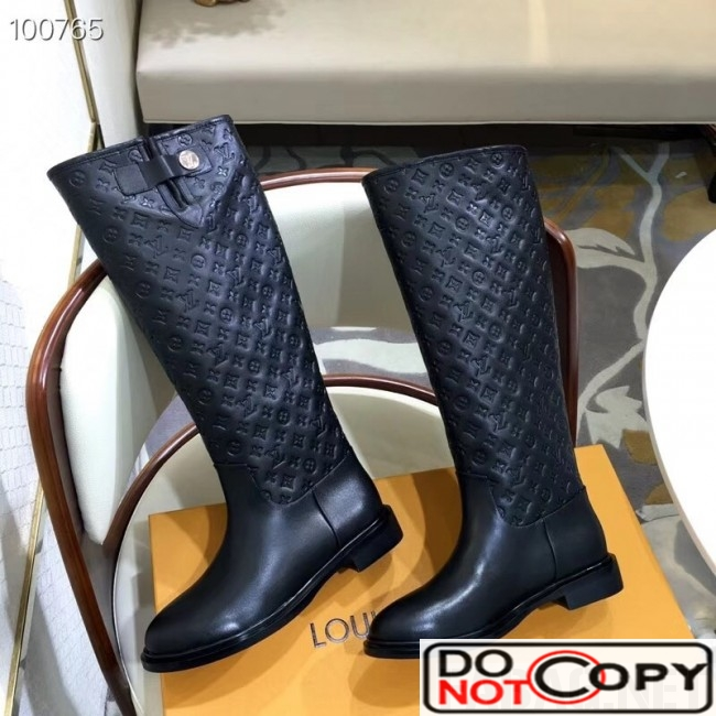 Louis Vuitton Monogram Embossed Clafskin Long Boot Black
