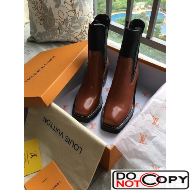 Louis Vuitton Patent Leather Limitless Ankle Boot Brown