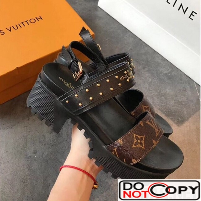 Louis Vuitton Laureate Platform Sandal Monogram Canvas Black