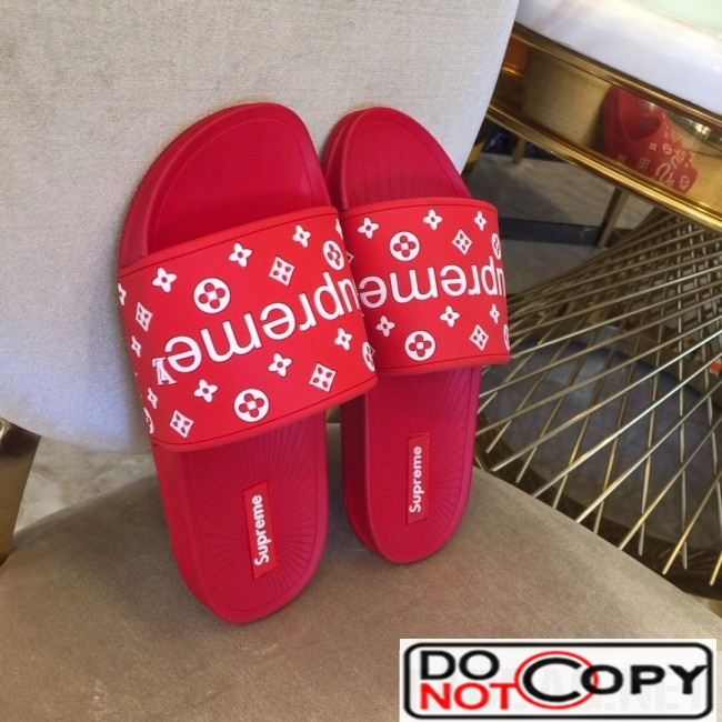 Louis Vuitton Supreme Madeline Flat Sandals Red